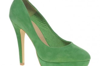 Green suede platform court shoes