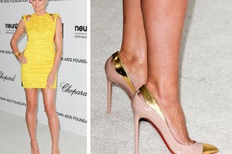 Heidi Klum in a yellow mini dress and Christian Louboutin Duvette pumps