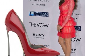 Jenna Dewan in red dress and red Casadei pumps