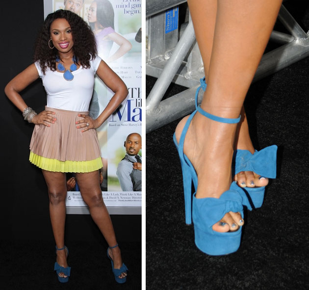 e932a67dbb5 Jennifer Hudson at the Think Like a Man premiere in Giuseppe Zanotti sandals