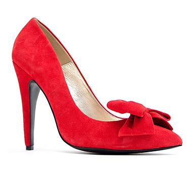 Mango red suede bow pumps