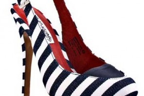 stripe slingback shoes