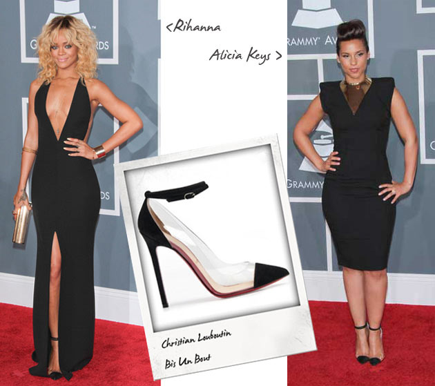 rihanna and alicia keys grammy awards christian louboutin bis un bout Shoeper Standoff: Rihanna & Alicia Keys in Christian Louboutin Bis un Bout at the 2012 Grammy Awards