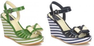 stripe wedge shoes