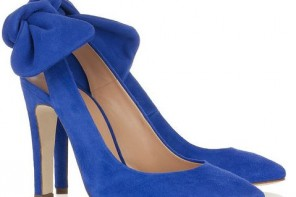 carven blue suede bow slingbacks