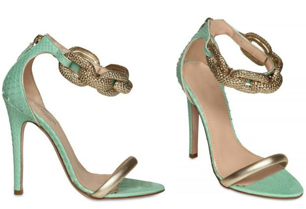 Guambattista Valli green and gold sandals