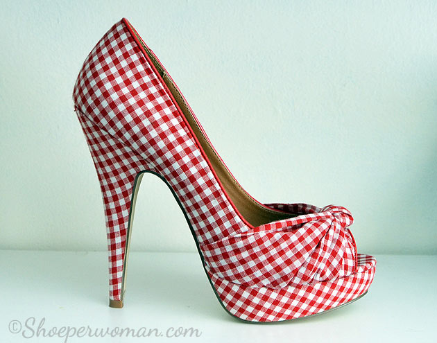 Head Over Heels gingham peep toes