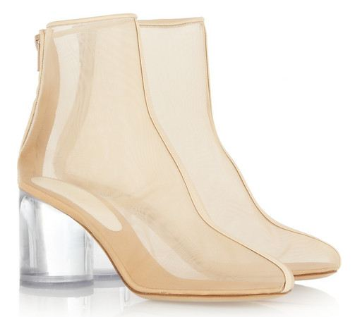 150b6424280 Maison Martin Margiela leather-trimmed mesh and perspex boots