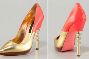 Ruthie Davis gold shoes with cutout heels
