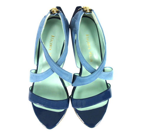 Atalanta Weller blue wedge shoes