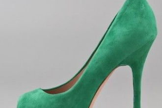 Green suede peep toe shoes