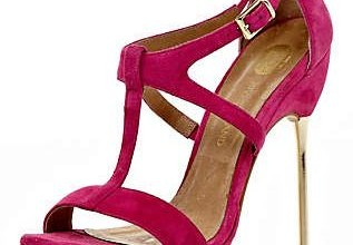bright pink metal heeled sandals