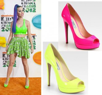 Katy Perry in neon green Prada peep toes