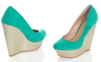 Miss Selfridge green 'Whoop' wedges