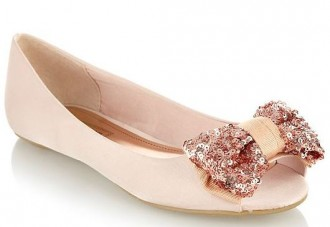 294a4482377 Red Herring light pink sequin bow flats