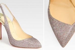 Christian Louboutin Corneille Glitter-Coated Metallic Leather Slingback Pumps