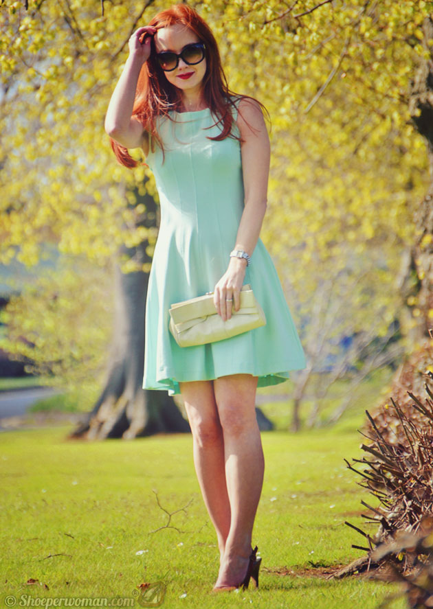 Mint dress and tan shoes