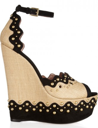 Alaïa Paille Glamour embellished raffia and suede wedge sandals