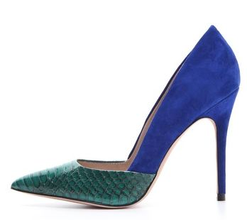 blue and green shoes