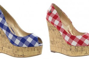 gingham wedge sandals