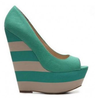 green stripe wedge heels