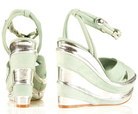 Mint green wedge shoes