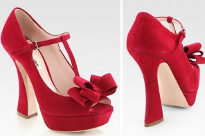 Miu Miu red suede shoes