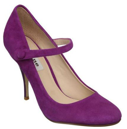 purple suede Mary Janes