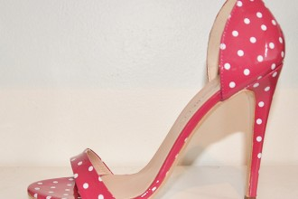 red polka dot strappy sandals