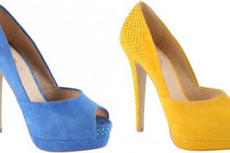 suede studded peep toes