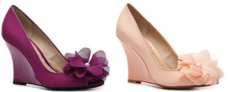wedge pumps with flower detail