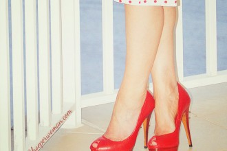 Red Zara peep toes
