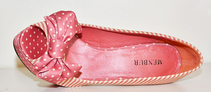 pink shoes with stripes and polka dots
