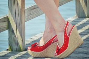 red canvas wedge shoes