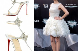 Marion Cotillard in Christian Louboutin Lady Max Spike T-Strap Sandals