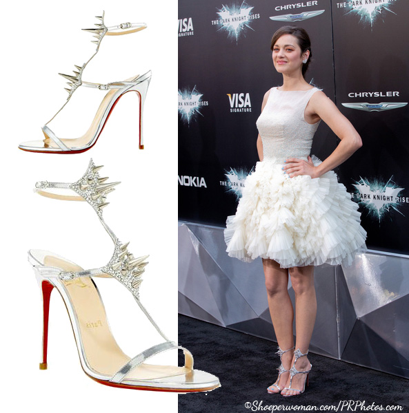ShoeperStar: Marion Cotillard in Christian Louboutin Lady Max Spike T-Strap Sandals