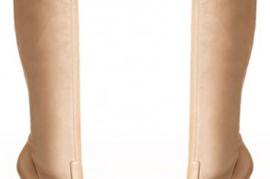 Casadei nude stretch knee boots