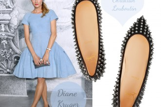 Diane Kruger in Christian Louboutin Pigalle spiked ballerina flats