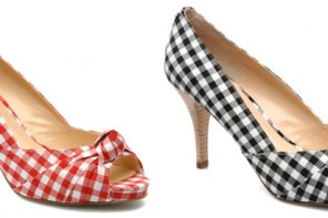 gingham peep toe shoes
