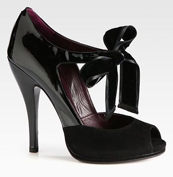 Gucci Viola Mixed Media Bow Platform Pumps