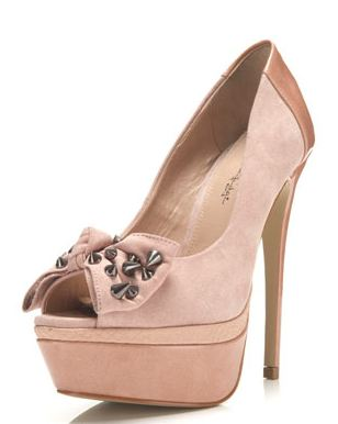 Miss Selfridge 'Candy' studded bow peep toes
