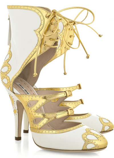 Miu Miu Lace-up cutout leather heels