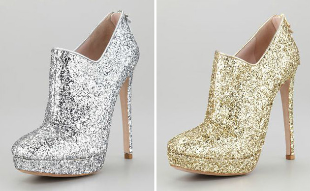 Miu Miu Zip-Back Glitter Booties