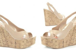 New Look nude patent cork wedges