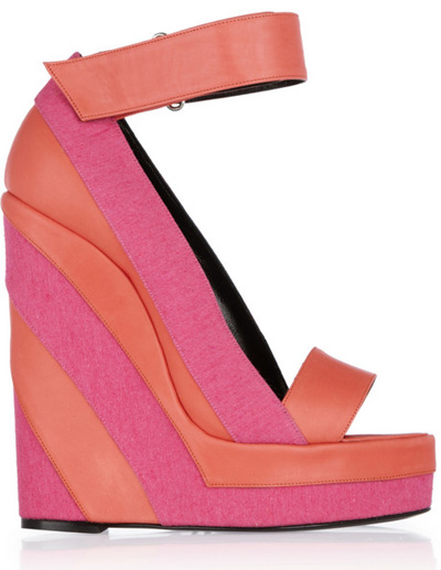 Pierre Hardy canvas and leather platform wedge sandal