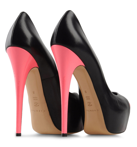 Pink And Black Heels - Qu Heel