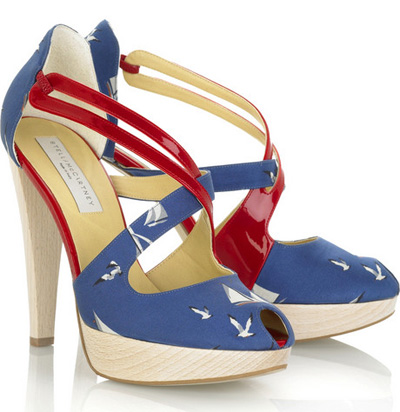 Stella McCartney nautical patent faux leather and canvas platform sandals