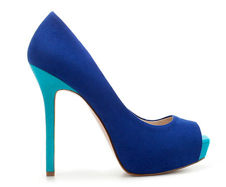 Zara blue turquoise suede peep toe shoes