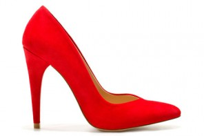 Zara red suede court shoes