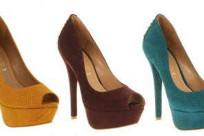 Office 'Serpent' platform peep toes with studded heels